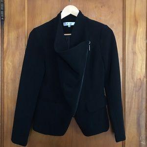 S. Line asymmetrical zip up black blazer